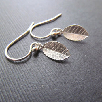 Little Leaf Earrings - Solid Sterling Silver
