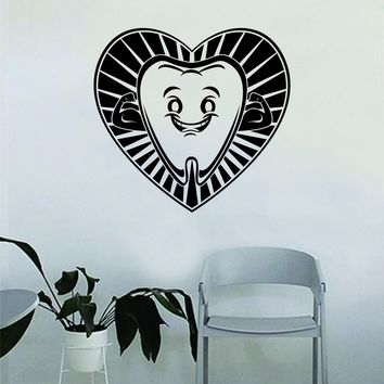 Tooth Heart Dentist Dental Quote Wall Decal Sticker Room Bedroom Art Vinyl Inspirational Decor Motivational Inspirational Office