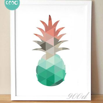 Cartoon Geometric Pineapple Canvas Art Print Poster, Wall Pictures for Home Decoration, Wall Decor FA253-2