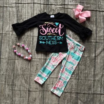 new Fall/winter baby girls sweet southern mess outfit boutique floral pant cotton children clothes plaid matching accessories