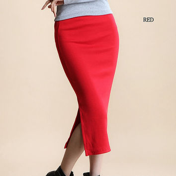 Winter Autumn Long Skirt Fashion Sexy Solid Color Cotton Skirts Womens Maxi Skirt  High Waist Elasticity Pencil Skirt