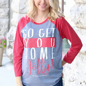 Go Get You Some Jolly Raglan {H. Grey+Red}