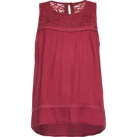 Full Tilt Crochet Gauze Girls Top Burgundy  In Sizes