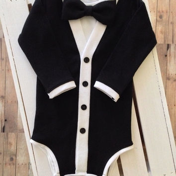 SALE Tuxedo Cardigan One Piece: Black and White with Interchangeable Tie Shirt and Bow Tie
