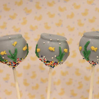 One Dozen Cute Fish Bowl Cake Pops - Made to Order