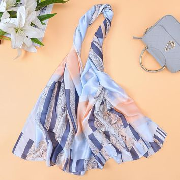 2018 New Brand Designer Plaid Scarves Women's Chian Print Silk Scarf For Lady Beach Cover Shawls Wrap bandanas Big Long Scarf