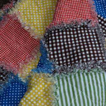 Picnic Rag Quilt - Large, Bright Designer Colors - Fun Summertime