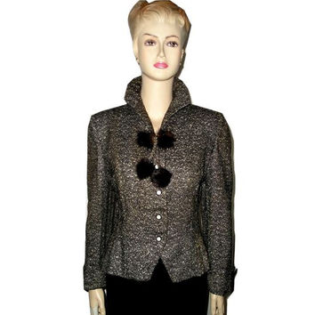 Vintage 40s 50s LADY LUCY Mink Fur Pompons B&W Wool Tweed Fitted Jacket 6. WW 2 Tweed Jacket w French Cuffs and Mink Trim