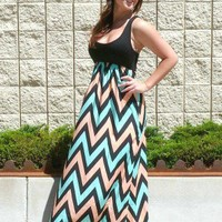 PLUS SIZE Peach & Mint Multi Chevron Maxi Dress