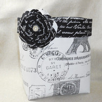 Beautiful French Inspired Fabric Basket With Detachable Fabric Flower Pin
