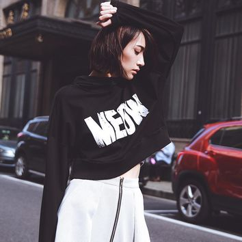 Fashion print letter hooded short sweater