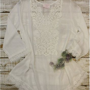 Lace Tunic with large front lace yoke- ivory