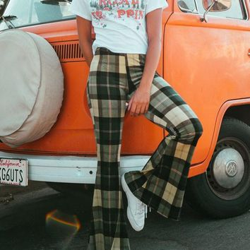 5a0efa036b New Green Plaid Side Slits Casual High Waisted Bell Bottomed Flares Long  Pant