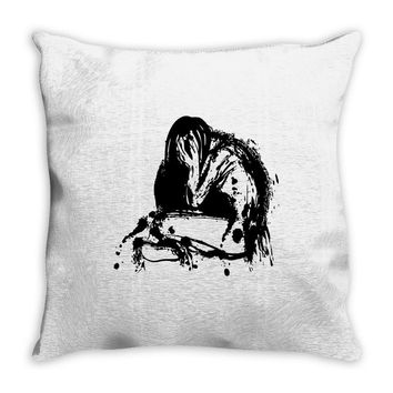 deep depression sad girl Throw Pillow