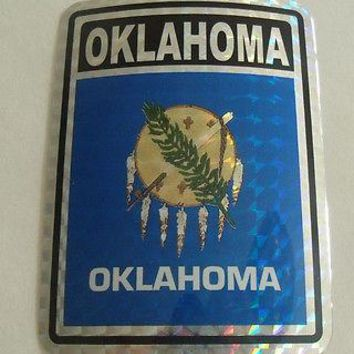 "Oklahoma Flag Reflective Sticker 3""x4"" Inches Adhesive Car Bumper Decal"