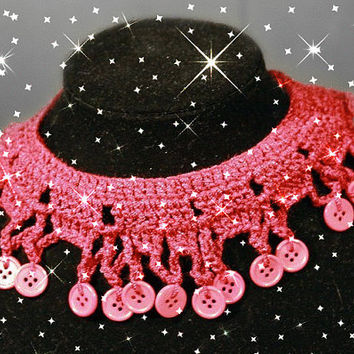 Crocheted Necklace with buttons, hand crocheted, OOAK