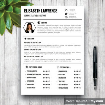 Resume Template With Photo + Cover Letter / CV Template Word (US Letter, A4),Professional, Creative Simple Resume, Resume Format, CV Format