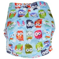 Adjustable Reusable Washable One Size Baby Infant Cloth Diaper Nappy Owl Pattern Blue w/ 2 Inserts