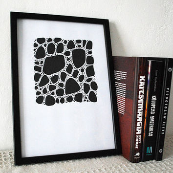 Black and white art. Black abstract art print. Beach pebbles illustration. Contemporary black and white prints. Ink drawing.