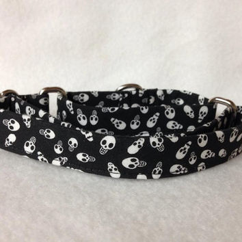 "Skulls Black White Martingale or Quick Release Collar 5/8"" 3/4"" Martingale Collar Buckle Collar"