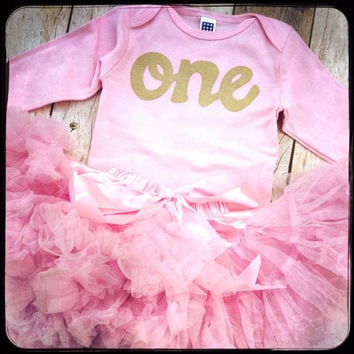Fluffy pettiskirt tutu with pink long sleeve gold glitter one On 719f3a1c7