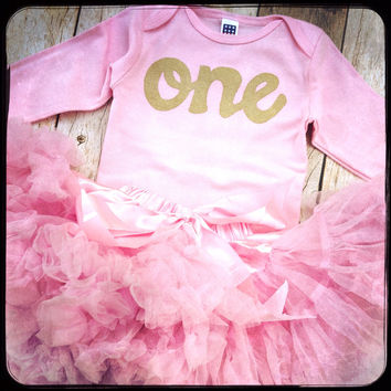 Fluffy pettiskirt tutu with pink long sleeve gold glitter one Onesuit- girls 1st Birthday outfit Christmas- girls first birthday outfit