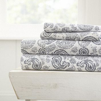Soft Essentials™ Premium Ultra Soft Coarse Paisley Print 4 Piece Sheet Set - King - Navy Case Pack 16