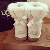 UGG Trending Women Winter Warm Wool A Bowknot Snow Boots White I