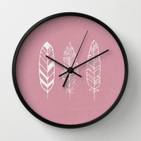 Three feathers - rose Wall Clock by Joanna Designs