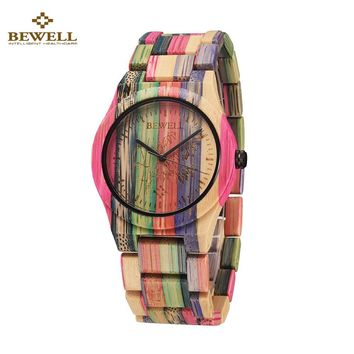 Full Rainbow Color Natural Wooden/Bamboo Women's Wrist Watch