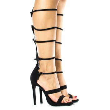 Gin-s Black By Paprika, Knee High Open Toe Gladiator Multi Buckle Strappy Stiletto Heels