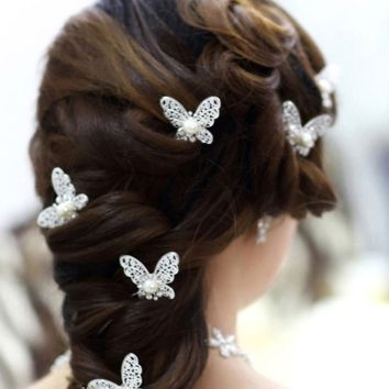 Rhinestone Handmade Butterfly/Flower Handmade Wedding Hair Sticks/Clips 6pcs