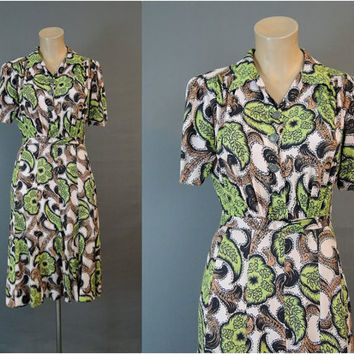 Vintage 1940s Rayon Print Dress, 37 bust, Vintage 40s Swing Dress with Gored Skirt