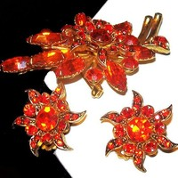 Beau Jewels Brooch Earring Set Burnt Orange Rhinestones Gold Metal Floral Design Vintage