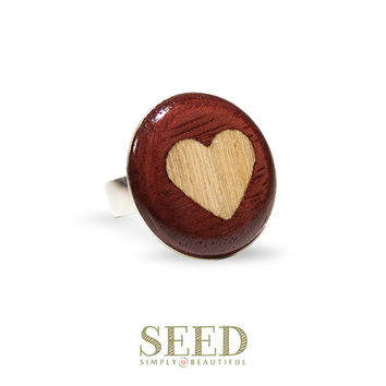 Heart Cocktail Ring, Sterling Silver with Exotic Inlaid Wood Ring, Koto and Purpleheart, Seed Simply Beautiful, OOAK Jewelry