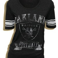 NFL Oakland Raiders Football Triblend Vintage Charcoal Juniors T-shirt Tee (Small)