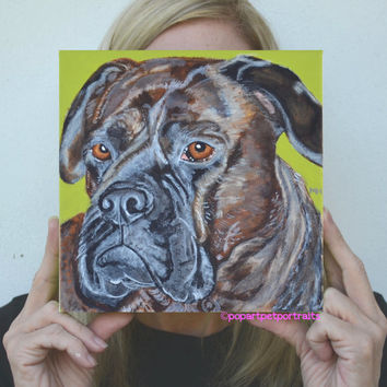 Bullmastiff pet portrait custom pet portrait pop art pet portrait Dog painting dog portraits etsy custom dog art original dog portrait