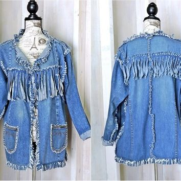 Fringed denim jacket size M / L /  upcycled jean jacket /  boho / hippie / western