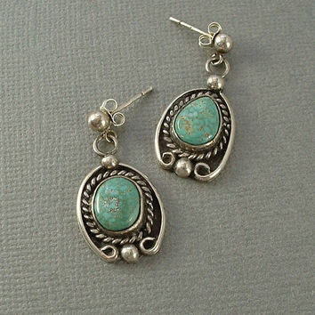 Old Native American Turquoise Earrings Vintage Sterling Nav