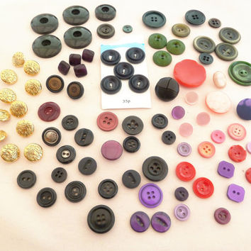 Vintage Button Lot for Sewing Crafts Mixed Colours