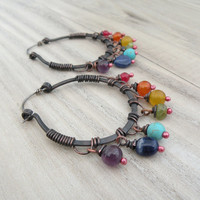 Gemstone Copper Hoops with Sterling Silver Ear Wire, Rainbow  - The Gypsy's Daughter Earrings