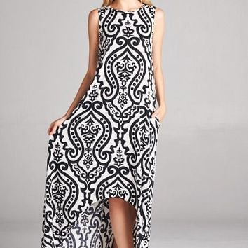 2018 Spring Damask Printed Poly Spandex High/Low Tank Maxi Dress With Hidden Pockets  Pre Order
