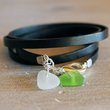 Beach Glass Ankle Bracelet leather wrap by ChickpeaDesignStudio