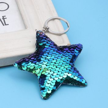 Sequin Star Purse Charm Keychain - In Two Colors