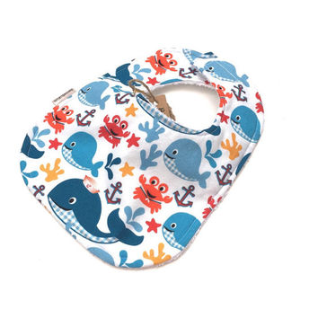 Boy Bib - Infant Baby Bib - Nautical Bib - Boys Baby Bib - Blue Fish Bib - Whale Bib - Boys Newborn Bib - Baby Boy Gift - Boy Bibs