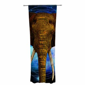 "NL Designs ""Space Elephant"" Brown Blue Digital Decorative Sheer Curtain"