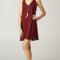 BURGUNDY CHAIN STRAP DRESS