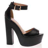 Brandi Black Platform High Heel Sandals