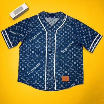 LV Louis Vuitton & Supreme Joint Short-Sleeve Baseball Cardigan F-AA-XDD Blue