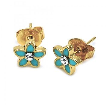 Gold Layered Stud Earring, Flower Design, with Crystal, Gold Tone